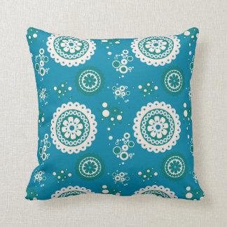 BOHO RETRO CIRCLES, Blue & White Cushion