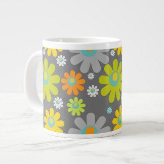 Boho Retro Grey/Gr/Yel/Org Daisies on Grey Jumbo Mug