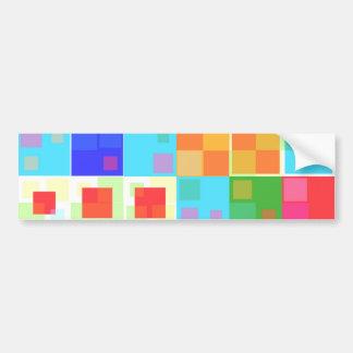 Boho Retro Squares Bumper Stickers