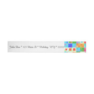 Boho Retro Squares Wraparound Address Label