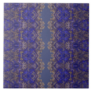 Boho-Romantic laced golden-blue ornament Tile