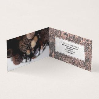 Boho rose gold dreamcatcher floral doodles on grey business card