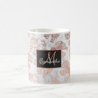 Boho rose gold paisley elephants white marble coffee mug