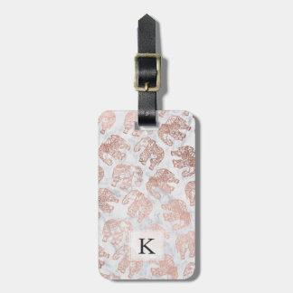 Boho rose gold paisley elephants white marble luggage tag