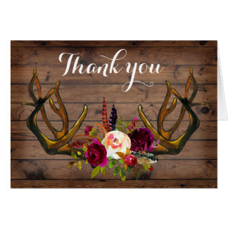 Boho Rustic antlers floral thank you note Card