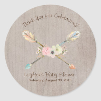 Boho Rustic Baby or Bridal Shower Favor Sticker