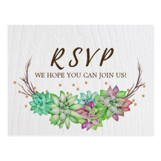 Boho Rustic Floral Succulent Song Request RSVP Postcard