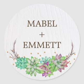 Boho Rustic Floral Succulent Wedding Envelope Seal Round Sticker