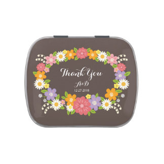 Boho Rustic Floral Wreath Wedding Candy Tins