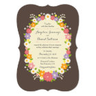 Boho Rustic Floral Wreath Wedding Card