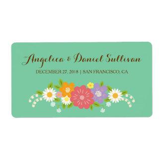 Boho Rustic Floral Wreath Wedding (Mint) Shipping Label