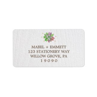 Boho Rustic Pink and Mint Floral Succulent Wedding Address Label