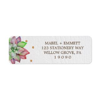 Boho Rustic Pink and Mint Floral Succulent Wedding Return Address Label