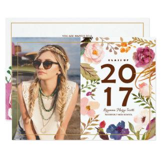 Boho Rustic Watercor Flowers Photo Grad Party Card
