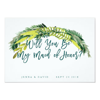 Boho Rustic Will You Be My Maid Of Honor Card 13 Cm X 18 Cm Invitation Card