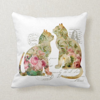Boho Shabby Chic Vintage Postmarked Cats Pillow