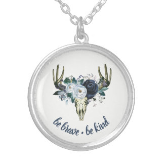 Boho Skull and Blue Peonies | Be Brave, Be Kind Silver Plated Necklace