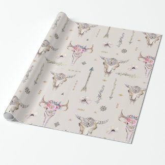 Boho Skulls, Flowers, and Arrows Pattern Wrapping Paper