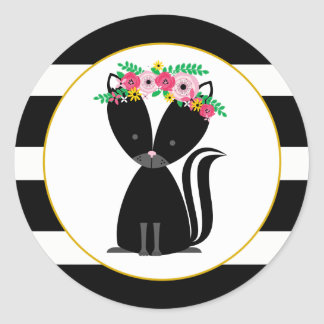 Boho Skunk Black + White Stripe Baby Shower Classic Round Sticker