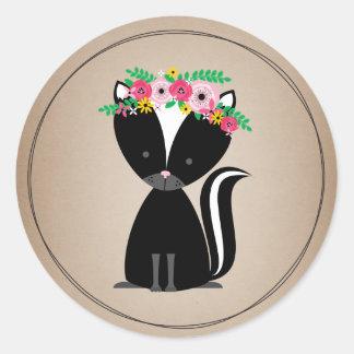 Boho Skunk Cardstock Inspired Baby Shower Classic Round Sticker