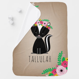 Boho Skunk Personalized Baby Blanket - Brown