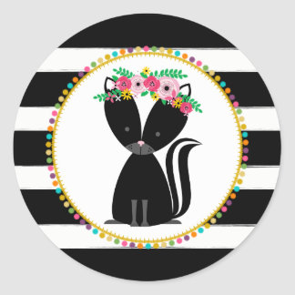 Boho Skunk Striped Pompom Inspired Baby Shower Classic Round Sticker