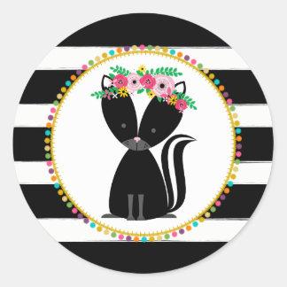 Boho Skunk Striped Pompom Inspired Baby Shower Round Sticker