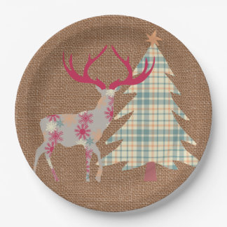 Boho Stag and Christmas Tree on Burlap Effect Paper Plate