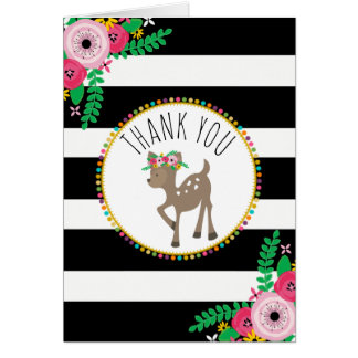 Boho Stripes Deer Baby Shower Thank You Card