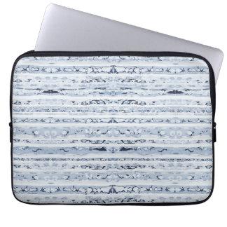 Boho Stripes Indigo Blue pattern Laptop Sleeve