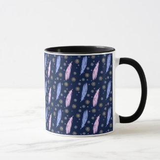 boho style feathers pattern mug