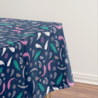 boho style feathers pattern tablecloth