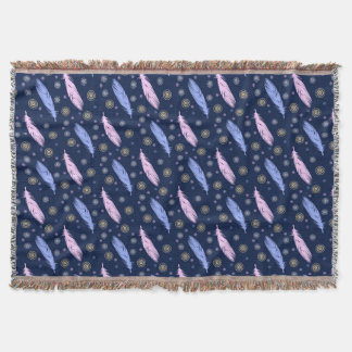 boho style feathers pattern. throw blanket