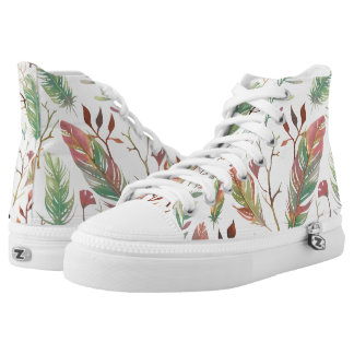 Boho-Style Leaves and Feathers Modern Urban High Tops