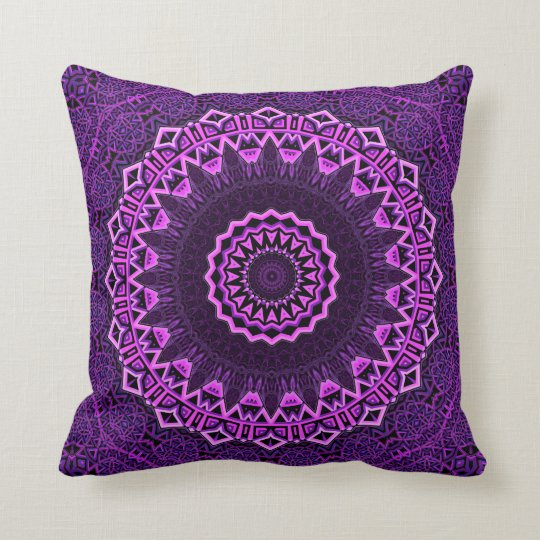 Boho style purple and pink mandala cushion