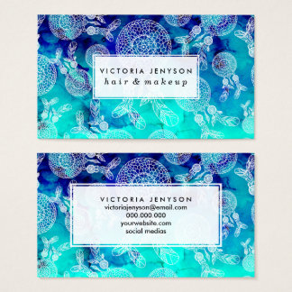 Boho summer dreamcatchers feathers blue watercolor business card