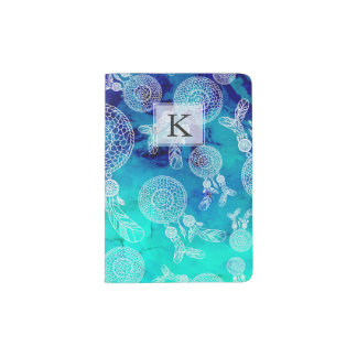 Boho summer dreamcatchers feathers blue watercolor passport holder