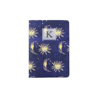 Boho sun moon and stars pattern blue watercolor passport holder