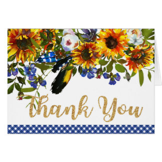 Boho Sunflower Watercolor Floral Country Thank You Card