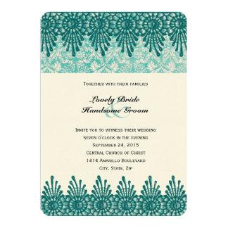 Boho Teal Blue Damask Wedding Invitation