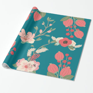 Boho Teal Floral Wrapping Paper
