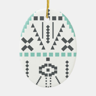 Boho Totem, Ethnic Symbol, Hippie, Aztec, Tribal Ceramic Oval Decoration