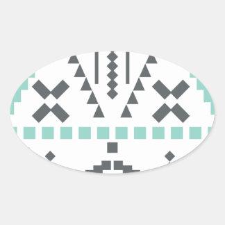 Boho Totem, Ethnic Symbol, Hippie, Aztec, Tribal Oval Sticker
