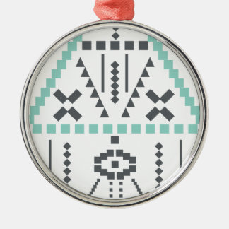 Boho Totem, Ethnic Symbol, Hippie, Aztec, Tribal Silver-Colored Round Decoration