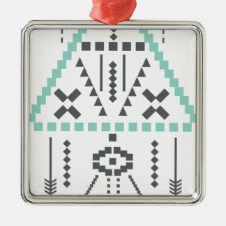 Boho Totem, Ethnic Symbol, Hippie, Aztec, Tribal Silver-Colored Square Decoration