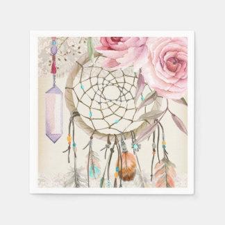 Boho Tribal Chic DreamCatcher & Roses Paper Napkin