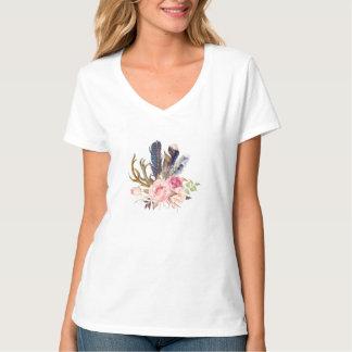 Boho Tribal Chic Feathers Arrows Flowers T-Shirt