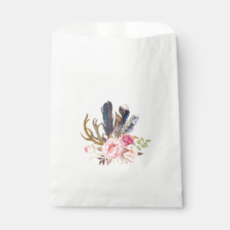 Boho Tribal Chic Feathers Candy Favor Bag