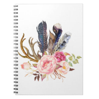 Boho Tribal Chic Feathers Notebook