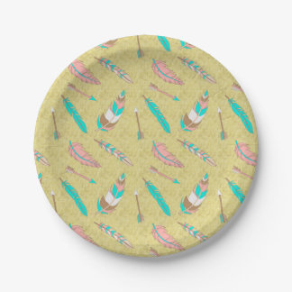 Boho Tribal Chic Feathers Paper Plate